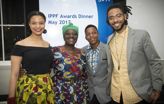 3)	H.E. Adv. Gawanas with her daughter Amakhoe, son Sinan and grandson Hodago at the award ceremony.