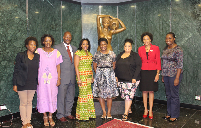 UNFPA's delegates pose for a picture with the First Lady's team. From left, Ms. Nancy Kalomo, Ms.Tuli-Mevava Nghiyoonanye, Mr.Israel Tjizake (UNFPA), Ms.Dennia Gayle, Madam Monica Geingos, Ms. Cathline Neels (UNFPA), Loide Amkongo (UNFPA) and Helena Kuzee.