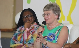 First Lady Madam Monica Geingos with Hon. Katherine Zappone, Minister of Children and Youth Affairs in Ireland. © UNFPA Namibia/ Emma Mbekele