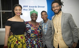 3)H.E. Adv. Gawanas with her daughter Amakhoe, son Sinan and grandson Hodago at the award ceremony.