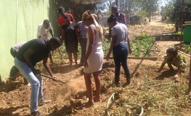 Young people prepare soil for planting at the Windhoek Multi-Purpose Youth Resources Centre.